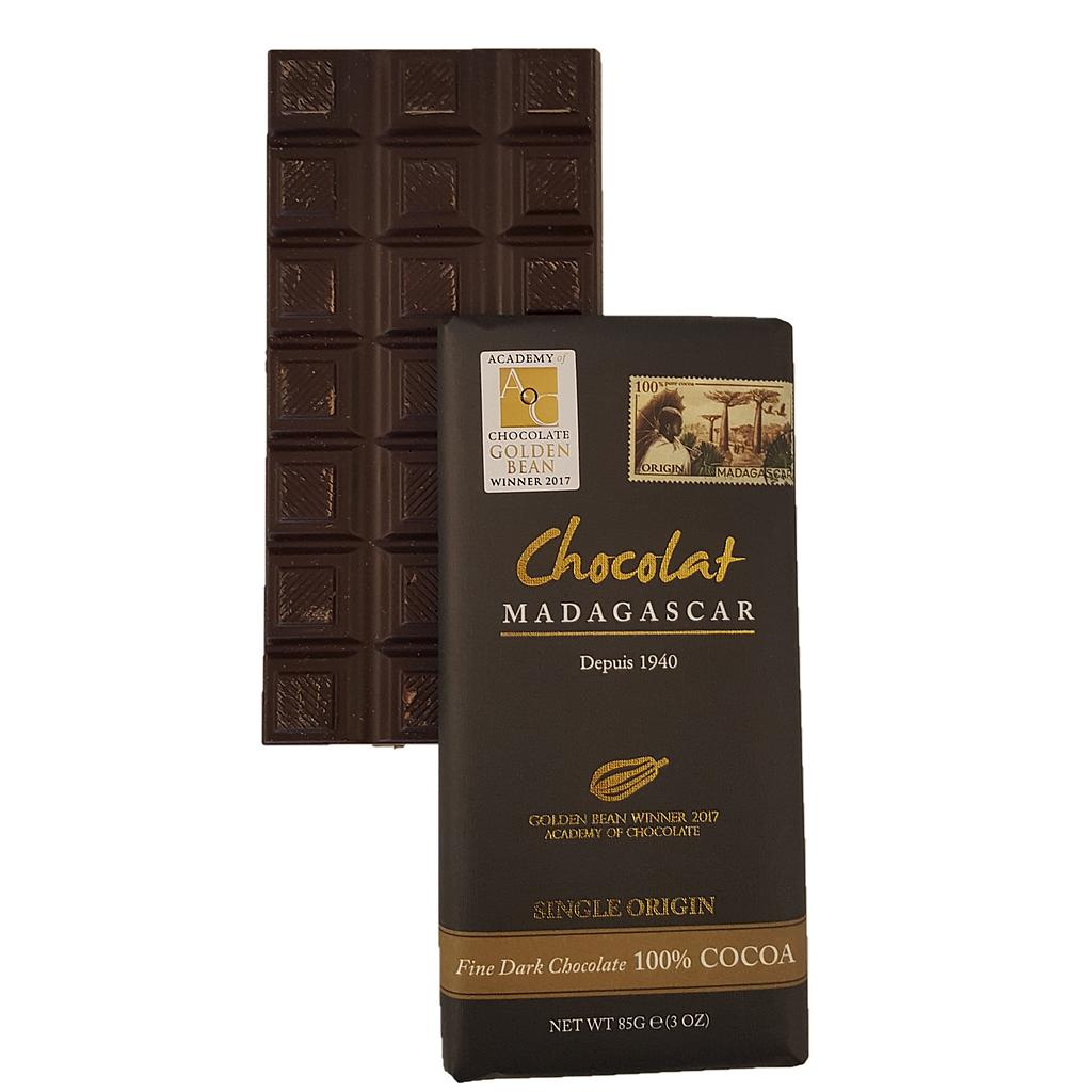 Tablette de chocolat noir 100%, médaillées d'or (Golden Bean winner 2017)